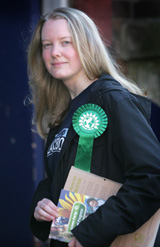 Justine campaigning